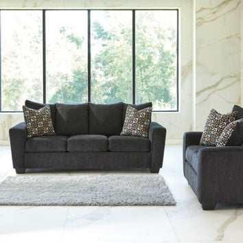 Ashley Furniture 57002-38-35 2 pc Wixon collection slate fabric upholstered sofa and love seat set with squared arms