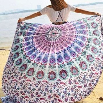 DCCKJG2 Women Chiffon Shawls Scarves Wraps Boho Printed Round Sunblock Tapestry Cover-Up Beach Towel Soft serviette de plage for Summer