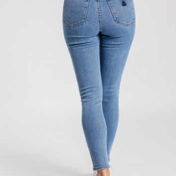 Abrand A High Skinny Ankle Basher Jeans in LA Blues Denim