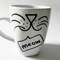 cat face  meow  mug // handdrawn/written by Espressions on Etsy