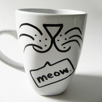 cat face - meow. - mug // hand-drawn/written