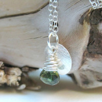 Silver charm necklace, wire wrapped green tourmaline gemstone with sterling silver brushed disc
