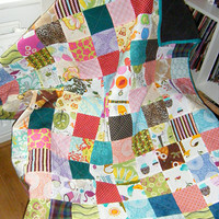 Play quilt - baby quilt, toddler blanket - multicolor - playmat, baby quilt, crib quilt