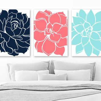 Flower Wall Art, Aqua Turquoise Navy Bedroom Wall Decor, CANVAS or Print, Bathroom Decor, Succulent Flowers, Floral Dahlia Pictures Set of 3