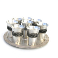 Antique melhior dram set shot glasses set tray gift for him serving home decor silvery