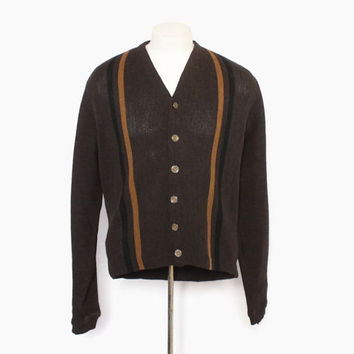 Vintage 60s MEN'S CARDIGAN / 1960s Brown Striped Panel Front Wool Sweater M
