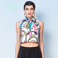 Abstract Printed Sleeveless Ribbon Collar Crop Top