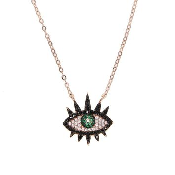 Green Eye Pendant Necklace - Rose Gold