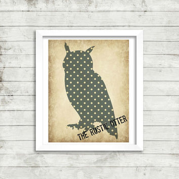Vintage Polka Dot Owl Silhouette - Nursery Art - Wall Decor - Wall Art - Owl - Woodland - Forest - Shabby Chic - Gender Neutral - Grey
