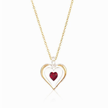 January Gold Trim Swarovski Birthstone Heart Necklace