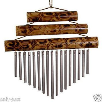 Triple Bamboo Chime - Large: Metal Chimes That Tinkle Gently In The Breeze