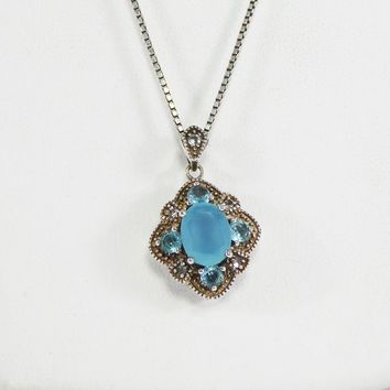 Frosty Aqua Blue Rhinestone Pendant Marked 925 Sterling Silver Diamond Shaped Face, Clear & Aqua Glass Rhinestones Vintage 1970s 1980s 1990s