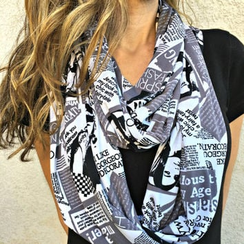 Fashion Magazine Black and White Text Infinity Scarf, Soft Double Layered Loop Scarf