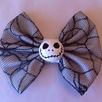 The Nightmare Before Christmas Inspired Medium Sized Fabric Hair Bow
