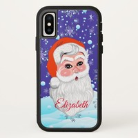 "Cute ""Santa Claus & Snowfall"" Merry Christmas iPhone X Case"