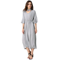 Gray Choker Flare Sleeve Elastic Waist Loose-Fit Jumpsuit