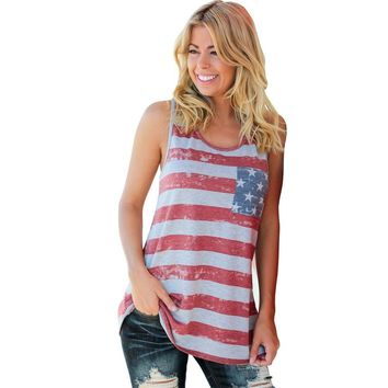 2017 Summer Style Women Tops 90's crop top female American Flag Stripe Printed Bowknot Tank Tops Casual Loose Vest Tops