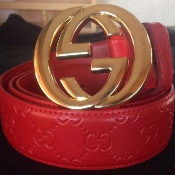 DCCKR2 Gucci Stylish GG Letter Print Gold Buckle Red Leather Belt I