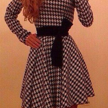 Plaid Long Sleeve Belted Skater Dress
