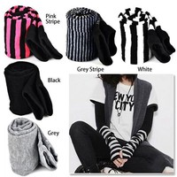 TKOH Lady Stretchy Soft Arm Warmer Long Sleeve Fingerless Gloves Black Gray Black White Stripe