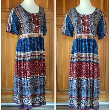 Vintage 90s Baby Doll Cotton Summer Festival Oversize Dress India Boho Crinkle Dress M 38B