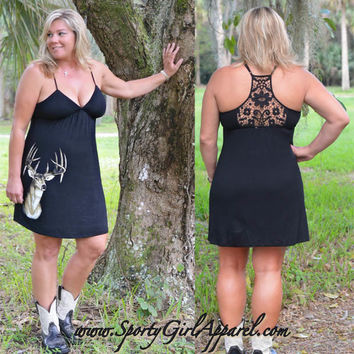 Cute and fashionable deer hunting black dress. Womens hunting clothing cute hunting dress