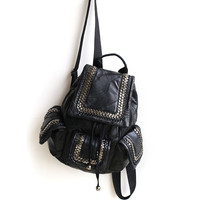 Leather Backpack Rivet Casual Travel Bags [6049527425]