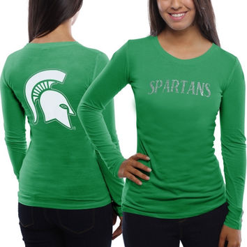 Michigan State Spartans Women's Finish Line Slim Fit Long Sleeve T-Shirt – Green