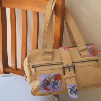 Soft leather handbag - upcycled leather bag - beige handbag - decoupage tote. Modern floral bag, ecobag, recycled bag