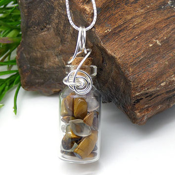 Tigers Eye Glass Bottle Necklace, Tigers Eye Pendant, Sterling Silver, Gems, Healing Crystal Quartz Necklace, Wire Wrapped Glass Jar Jewelry