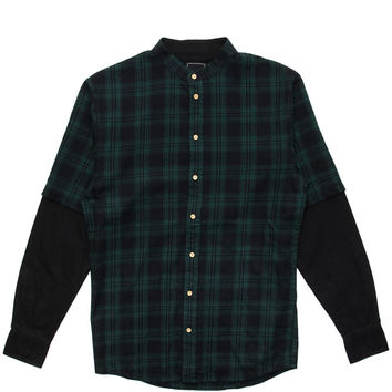 I Love Ugly - Mandarin Collar Split L/S Button-Up Shirt (Green Check)