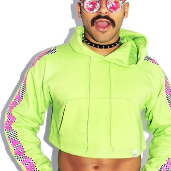 Slay Checkerboard Crop Long Sleeve Hoodie-Neon Green
