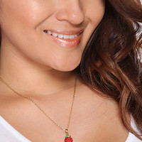 Red Rhinestone Studded Apple Pendent Necklace