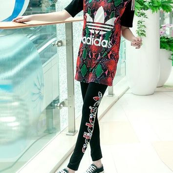 """Adidas"" Fashion Casual Multicolor Clover Letter Snake Print Stitching Gauze Mini Dress Set Two-Piece Sportswear"