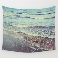Retro beach. Summer Waves Wall Tapestry by Guido Montañés