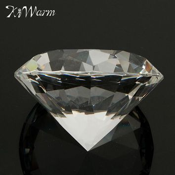 80mm Clear Crystal Diamond Shape Paperweight Glass Gem Display Ornament Wedding Home Decoration Art Craft Material Romantic Gift