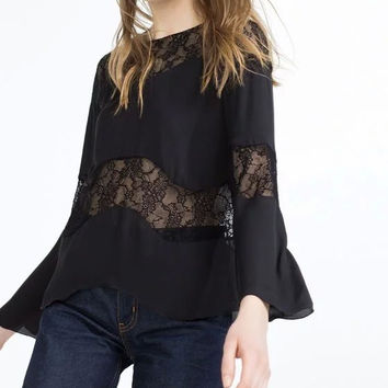 Black Long Sleeve Lace Patchwork Chiffon Blouse