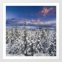 """Mountain Light III"" Snowy Forest At Sunset Art Print by Guido Montañés"