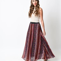 1970s Style Burgundy High Waist Paisley & Print Pleated Maxi Skirt
