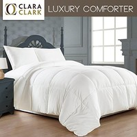 Royal Hotel's 300 Thread Count Queen Size Goose Down Alternative Comforter 100% Egyptian Cotton 300 TC - 750FP - 70OZ - White Solid