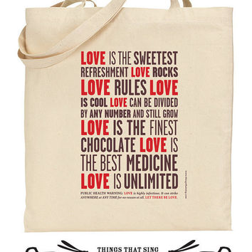 Organic Eco Cotton Tote Bag Let There Be Love by ThingsThatSing