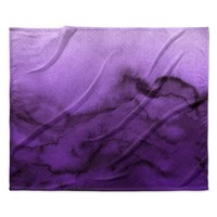 "Ebi Emporium ""Winter Waves 9"" Purple Abstract Fleece Throw Blanket"
