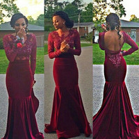 Long Sleeve Velvet Mermaid Prom Dresses