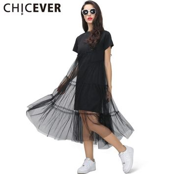 [CHICEVER] Summer Korean Plus Size Splicing Pleated Mesh T shirt Dress Women Black Gray Color Clothing New Fashion