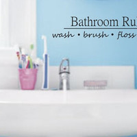 Bathroom Rules Quote Decal Sticker Wall Vinyl Decor Art