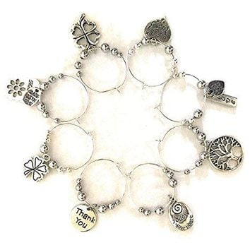Wine glass charm rings set of 8 with pouch gift for wine lover1 oz