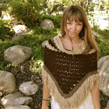 Crochet poncho, Boho, hippy, gypsy, music festival, women's pullover,festive, Native American, fringe poncho, winter jacket.