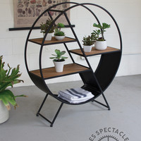 Round Iron & Wood Shelf