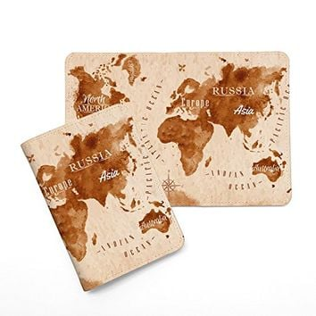 Vintage World Map Leather Passport Cover - Vintage Passport Wallet - Travel Accessory Gift - Travel Wallet for Women and Men _Mishkaa