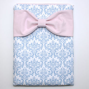 MacBook Pro / Air Case, Laptop Sleeve - French Blue and White Damask Light Pink Bow - Double Padded - Sized to Fit Any Brand